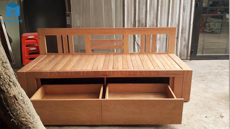 ghế giường kéo gỗ sồi
